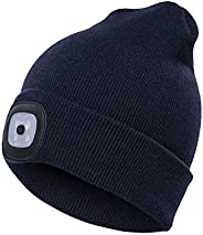 Ohderii Unisex USB Rechargeable LED Beanie Cap Quick Release Headlamp Winter Warmer Knit Cap Hat