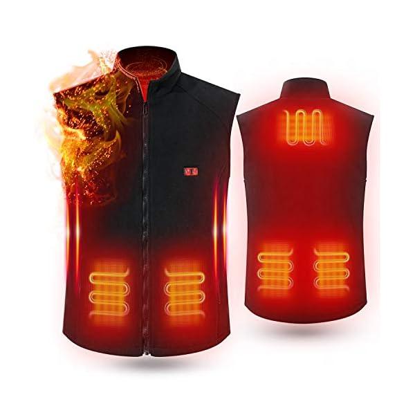 Cenow Gilet électrique , gilet chauffant d'hiver chauffant alimenté par USB lavable gilet d'hiver chaud avec 3 niveaux…