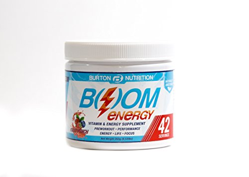 BOOM Energy Vitamin and Energy Supplement by Burton Nutrition – 42 Servings, Fruit Punch Flavor – Preworkout and Performance Supplement for Energy, Healthy Life, and Focus