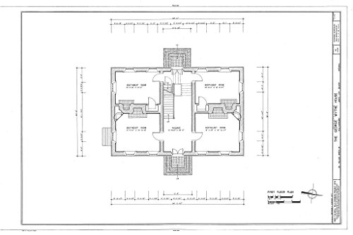 Historic Pictoric Structural Drawing HABS VA,48-WIL,16- (Sheet 3 of 10) - George Wythe House, 101 Palace Green Street, Williamsburg, Williamsburg, VA 66in x 44in ()