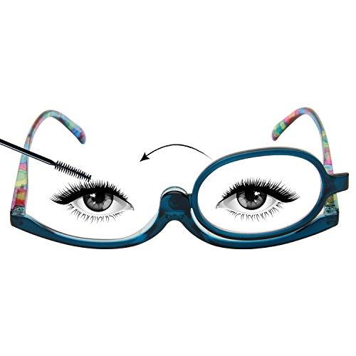 LianSan Readers Magnifying Makeup Glasses Flip Down Lens Folding Cosmetic Womens Make Up Reading Glasses L3660(+3.00,BLUE) ()