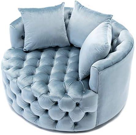Dolonm Swivel Accent Barrel Chair Modern Sofa Lounge Club Round Chair Velvet Fabric