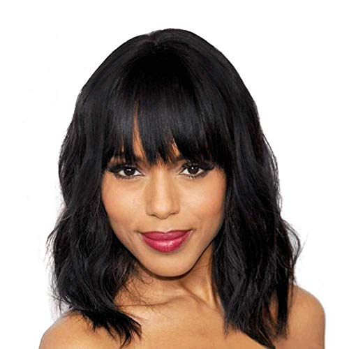 Elegant Off Balck Wig with Bangs, 14 inches Short Curly Hair Womens Wigs for Women, Charming Natural Wavy Hair Wigs (Off Black)