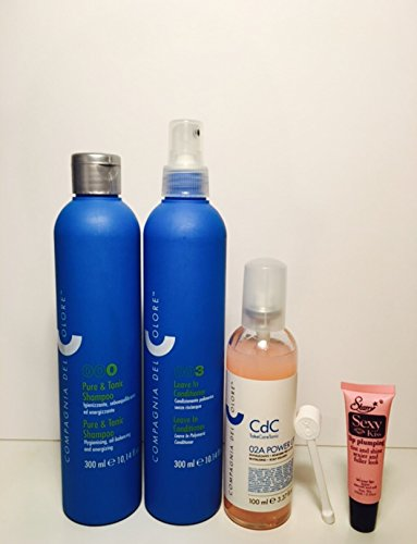 Compagnia Del Colore 000 Pure & Tonic Shampoo 300 Ml, 02A Power up Revitalizing Drops 3.37 Oz and 003 Leave-in Conditioner 10.14 Oz (Free Starry Sexy Kiss Lip Plumping 10 Ml)