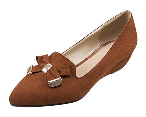 SHOWHOW Women's Comfy Solid Suede Bow Pointy Low Top Slip On Low Wedge Heel Platform Pumps Shoes Brown 7 B(M) US (Comfy Bow)