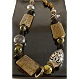 Mixed Gemstone and Metal Bead Necklace