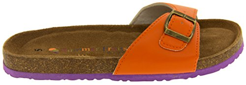 Orange Sangle Cuir Boucle Faux YF07061 Coolers Mules Femmes Sandales ZaRSqAq