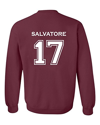 The Creating Studio Adult Vampire Diaries Salvatore 17 2-Sided Crew Neck Pullover (Small, Maroon)