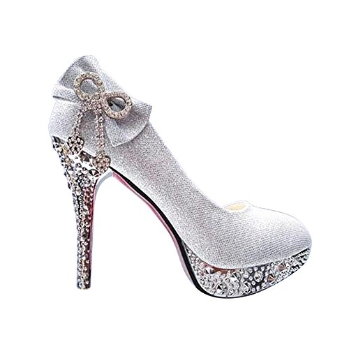 pit4tk Women's Evening Prom Rhinestones Peep Toe High Heel Platform Satin Wedding Shoes(Silver 35/4 B(M) US Women) ()