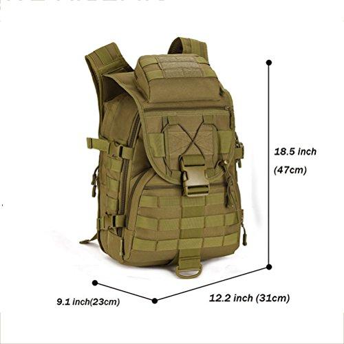 Fieans 40L Militaerische Outdoor Reisetaschen Camping Rucksack Jagd-Taschen Fahrradrucksack-Schwarz Coyote Brown