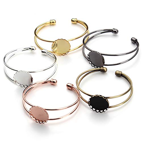 - Forise 5pcs Brass Bezel Tray Blank Cuff Bangles Bracelet with 20mm Half Round Cabochon 5 Colors for Men and Women