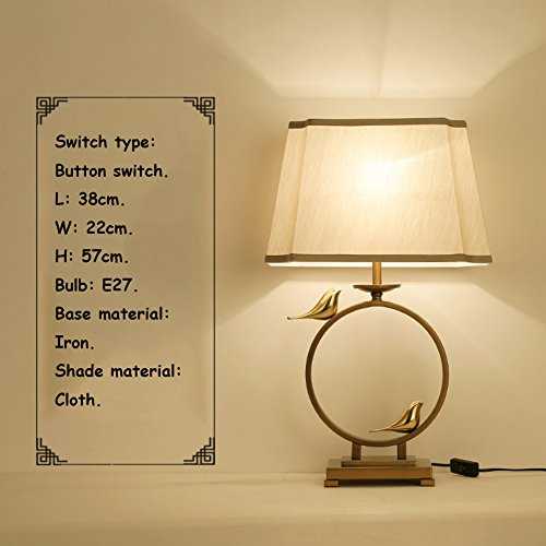 Vintage Zen Chinese Style Bedside Lamp,Bedroom Living Room Study Table Lamp-E