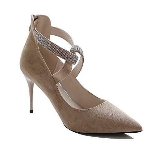 Lady Work Sexy Mouth Spring Apricot Pierced Point Elegant Shoes Leisure A High 9 34 5Cm Fine Diamond Shoes MDRW Heeled Shoes Shallow With dRxETd