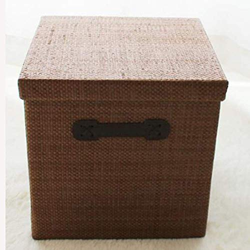 Family Storage Box, Drawer Type Simple Cloth Storage Box, Foldable with Handle Clothes Storage Box,Brown,39 39 38Cm
