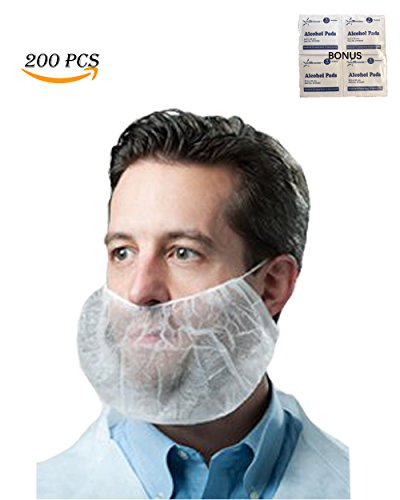 Economical Disposable Bouffant Beard Cover/ Protector, Beard Nets (Non-Woven, Latex-Free)-- Food Industry, Restaurants, Cooking, Healthcare Facilities and More--Bonus Alcohol Pads Include by Starryshine and EZ-5 (Image #3)