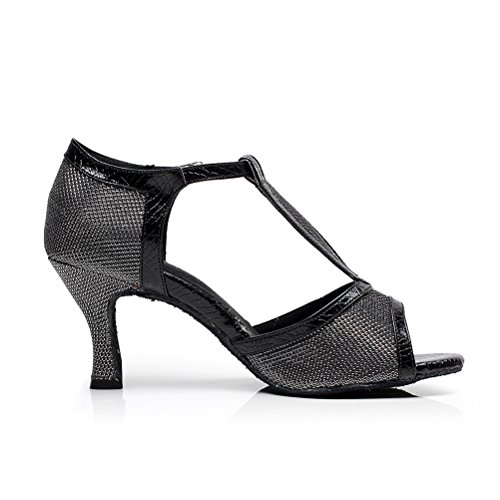 Dance Tango Open Ladies CXS 2 for Shoes Heel Black Salsa Party Ballroom Wedding and Practice 75 Heels toe WW0RAnr