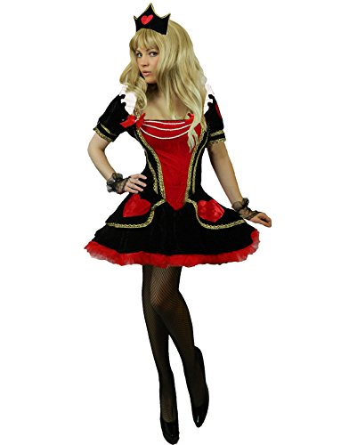 Queen Of Hearts Costume Images (Yummy Bee Womens Queen of Hearts Fairytale Costume + Gloves Crown Size 16 - 18)