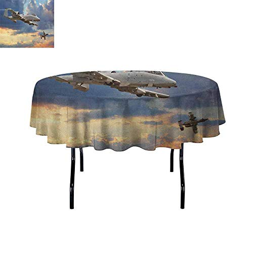 DouglasHill Airplane Leakproof Polyester Tablecloth Peacekeepers Mission Jet Up International Military Force Combat Flight Picture Outdoor and Indoor use D40 Inch Blue Silver