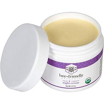 Best Night Cream Natural USDA Certified Organic Night Cream By BeeFriendly, Anti Wrinkle, Anti Aging, Deep Hydrating Moisturizing Night Time Eye, Face, Neck Decollete Cream for Men and Women 2 oz