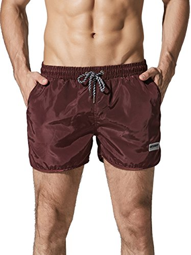 Neleus Men's Runner Athletic Beach Shorts Swimming Trunks with Pockets,708,Burgundy & Red,M,Tag - Shorts Swimming Triathlon