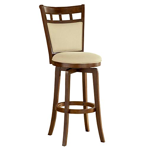 Hillsdale Jefferson 24-Inch Swivel Counter Stool with Cushion Back, Brown Cherry Finish with Woven Beige Fabric