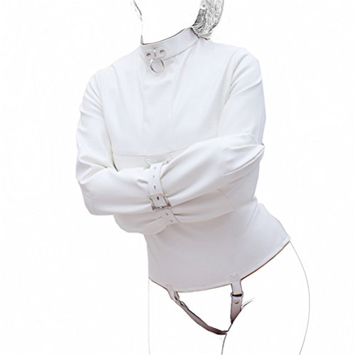 Love Secret PU Leather Straitjacket Strict Bondage Kinky Fancy Straight Jacket Fetish Costume for Women SM Body Harness Cosplay Bondage Gear (L, White) by ASL