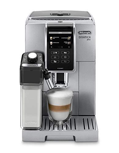 Delonghi super-automatic espresso coffee machine with an adjustable grinder, double boiler, milk frother maker for brewing espresso, cappuccino, latte, macchiato & flat white ECAM 370.95 S