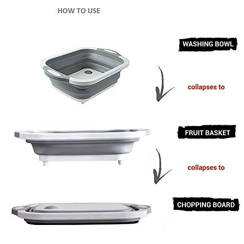 WHOLE MART® Multifunction Collapsible Cutting Board Dish Tub,Drain Basket Vegetable Basin,3 in 1 Sink Folding Cutting Board for Kitchen Outdoor Travel Camping