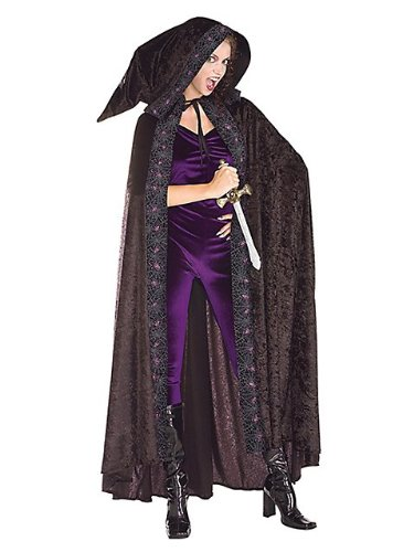 Adult Black Velvet Hooded Cape - Kid Sized Black Velvet Cape