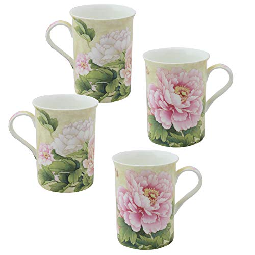 Grace Teaware Bone China Coffee Tea Mugs 9-Ounce (Golden Empire Pink Peony) (Set of - China Pink Peony
