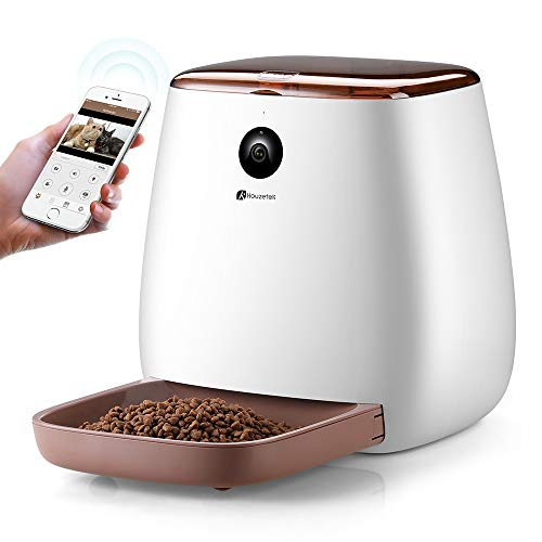Houzetek Automatic Pet Feeder Dog Dispenser, Cat Food Dispenser with Voice Recording, Features Distribution Alarms, Portion Control and Timer Programmable, Wi-Fi Enabled App for - Timer Food