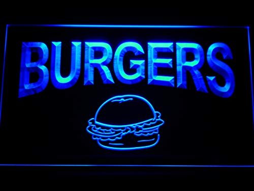 Cartel Luminoso ADV PRO m082-b Burgers Cafe Neon Light Sign ...