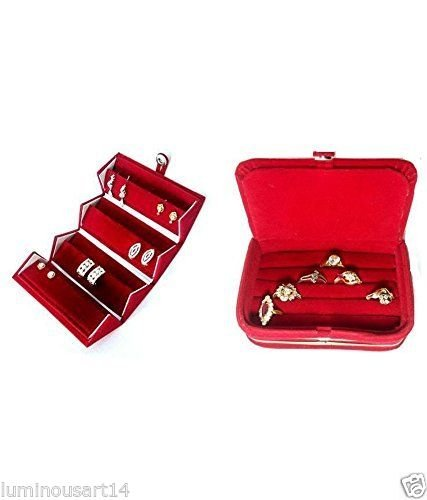 Atorakushon Multipurpose combo ring box & earring folder Jewellery Box Travelling Box