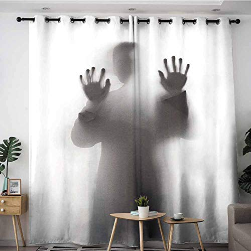 LOVEEO Custom Curtains,Man Standing Behind Frosted Glass,Grommet Curtains for Bedroom,W84x72L