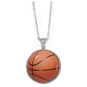 Cadena con colgante de baloncesto, bañada en plata), incluye ...