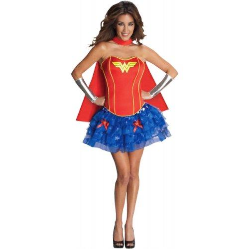 [Secret Wishes DC Comics Wonder Woman Corset And Tutu Costume, Blue/Red, Small] (Wonder Woman Red Corset)