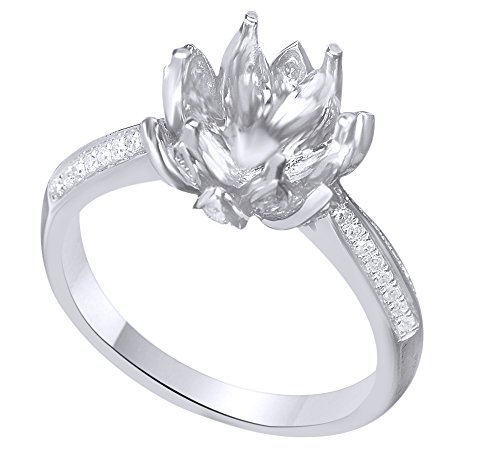 White Natural Diamond Lotus Flower Semi Mount Ring In 10k White Gold (0.4 Cttw) Ring Size - 6