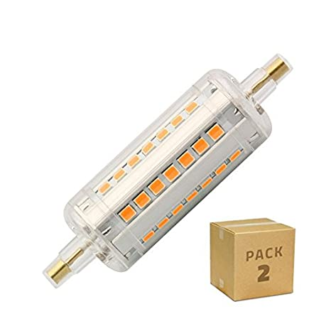 Bombilla LED R7S Pack 2 Slim 78mm 5W Blanco Cálido 2700K efectoLED: Amazon.es: Iluminación