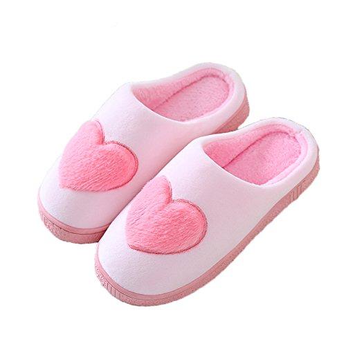 Autunno Inverno caldo uomini e donne matura anti-slittamento pantofole di cotone lana di cotone Semi-wash-Sala soggiorno carino il cotone pantofole ,40/41( 39/40) raccomanda di indossare rosa