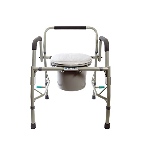 Healthline Deluxe 3 in 1 Bedside Commode, Toilet Safety Frame, Elevated Toilet Seat. Medical Steel Drop Arm Bedside Commode Chair Toilet Seat with Commode Bucket and Splash Guard, Padded Arms, - Safety Commode Toilet Frame