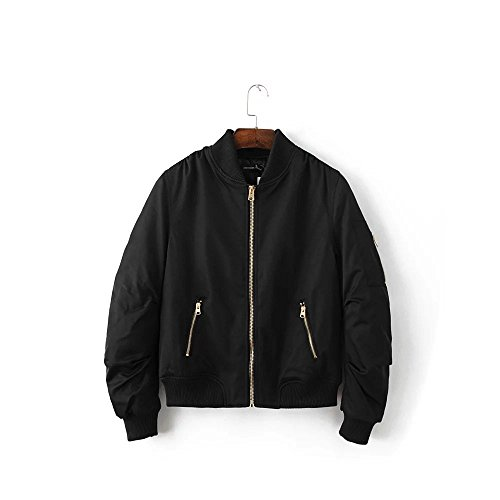 Lsm-Jacket Women's Regular Short Down Jacket Thickened Loose Cotton Padded Coat Outerwear Black