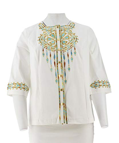 Bob Mackie Santa Fe Dream Embroidered 3/4 SLV Jacket White 1X New A221780 from Bob Mackie