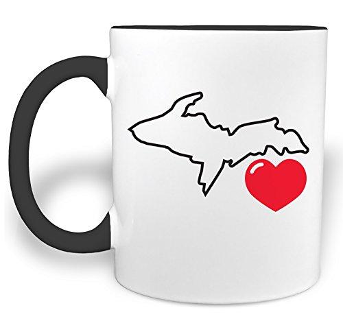 I Heart Michigan Upper Peninsula - 11 Ounce Ceramic Coffee Mug with Black Handle