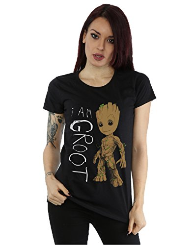 Marvel Women's Guardians of The Galaxy I Am Groot Scribbles T-Shirt Large Black