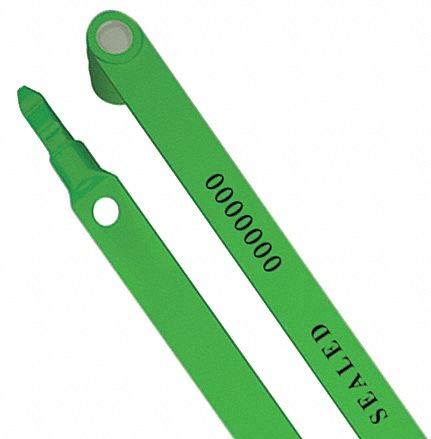 Fixed Length Seals, Plastic, Green, 6'', 80 PK