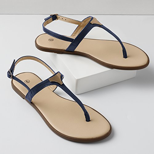 5b96538a6b2 Rekayla Flat Thong Ankle Strap Sandals with Fashion Triangle Metal for Women  Navy Blue 08