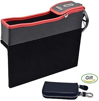 Car Organizer Box Holder Case Cup Coin Card Storage Key Box Seat Pocket Black F