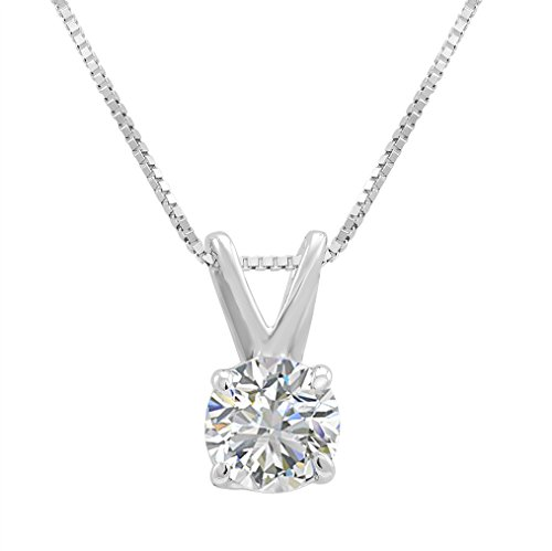 AGS Certified 3/8ct Round Diamond Solitaire Pendant Necklace in 14K White Gold ()