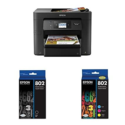 Epson WorkForce Pro WF-4730 Wireless All-in-One Color Inkjet Printer, Copier, Scanner with Wi-Fi Direct with Ultra Black Standard Capacity Cartridge ...