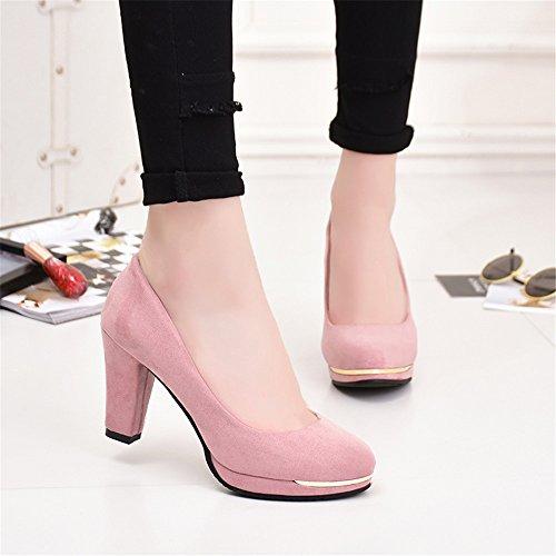 LIVY 2017 nueva cabeza redonda gruesa con los zapatos de las mujeres altos con gamuza impermeable zapatos de tacón alto zapatos de gran tamaño Rosado